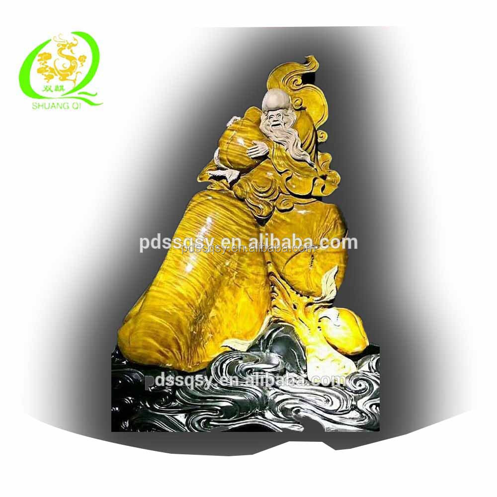Handmade tree carving religious statue wood buddha of the god of longevity