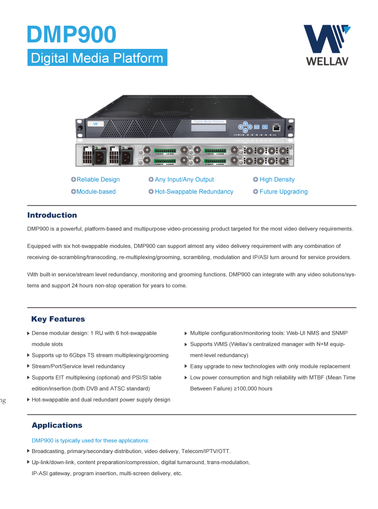 DMP900 RTMP / RTSP IP Transcoder for 40 Channels
