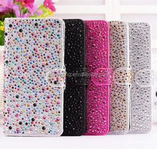 Fashion bling bling PU flip leather case for iPhone 5G 5S