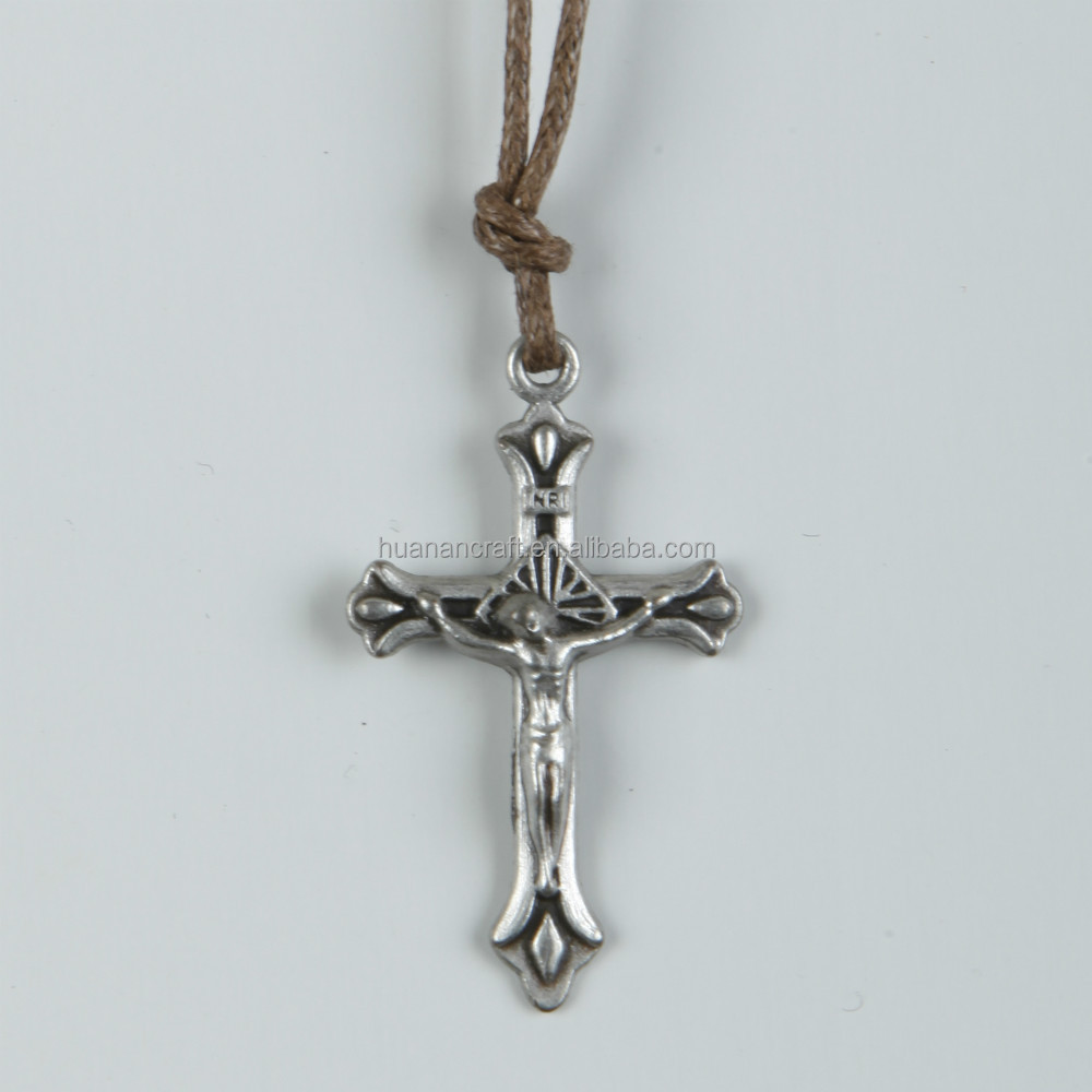 European zinc alloy cross religious christian italian rosary necklace clip pendant