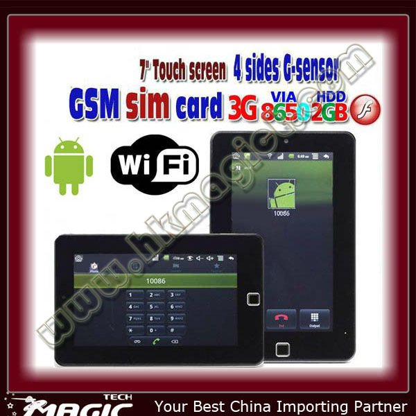 7 inch android 2.2 touch tablet with sim card