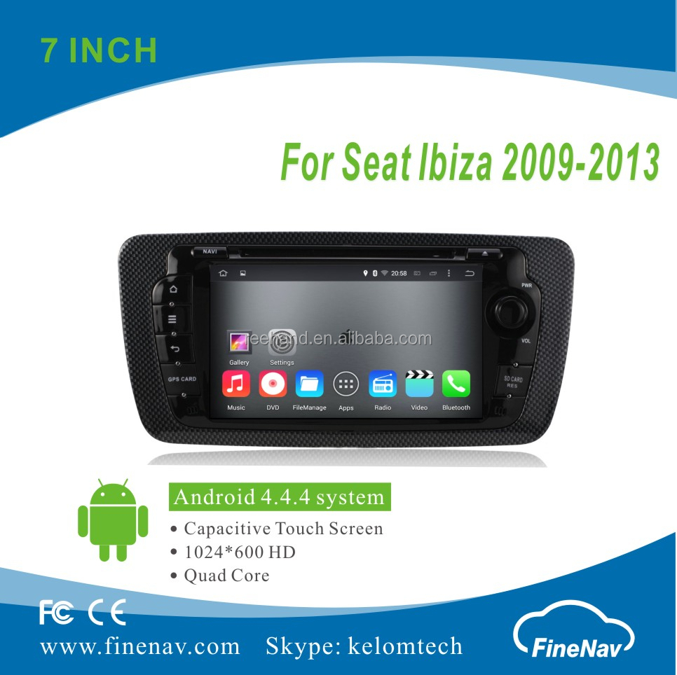 "7"" 2Din Android 4.4.4 Car DVD player with Quad-core HD 1024*600 Resolution 16GB Flash Mirror Link for Seat Ibiza 2009-2013"
