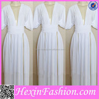 Fast delivery fashion women sexy white muslim women long dress