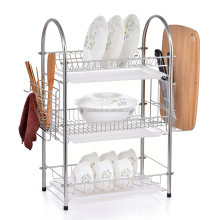 stainless steel 3 tier kitchen dish rack with tray