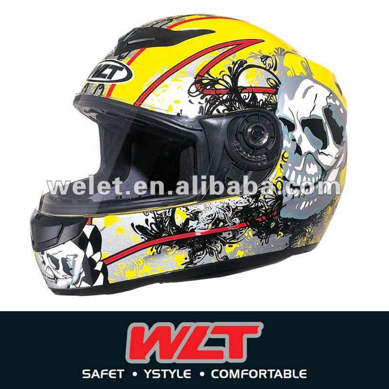 White ECE Full face helmet WLT-101/3# Lemon/Skull
