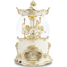 Hot decorative wedding favors snow globe resin carousel horse music box