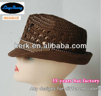LSP14 Factory Price Popular Colorful Ribbon Women's 100% paper panama Straw Hat