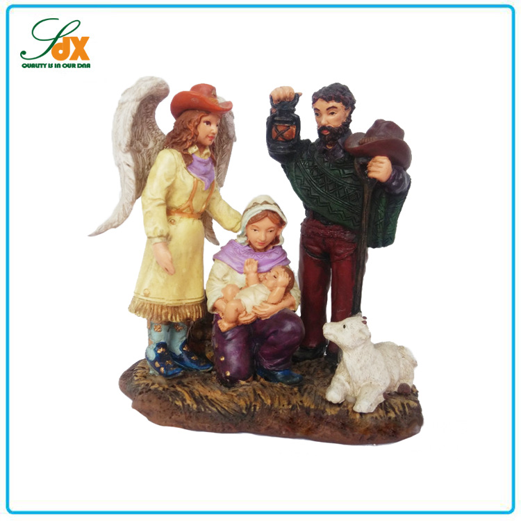 Contemporary hot resin nativity baby jesus figurines holy family figurines