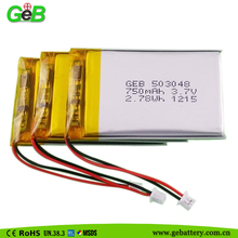 Li ion polymer 503048 3.7v 750mAh battery cheap lipo 3.7v cell for MP3/MP4/MP5/GPS/Portable DVD/tablet pc