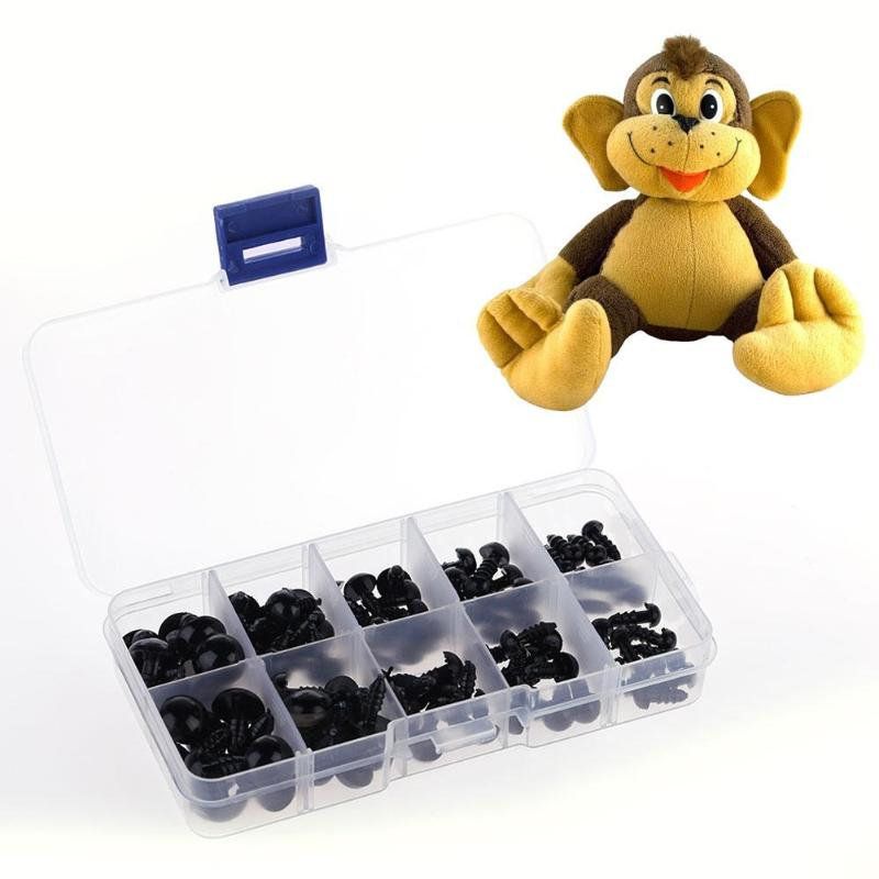 100pcs/box Animal Plush Toys <strong>Eyes</strong>+Black Screw Feet DIY Puppet Toy Dolls Accessories Plastic Safety <strong>Eye</strong> for Teddy Bear Dolls