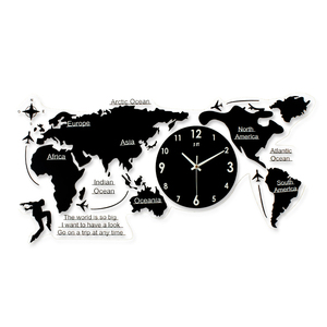 Creative Interesting World Map Clear Acrylic Wall Clock Modern Design