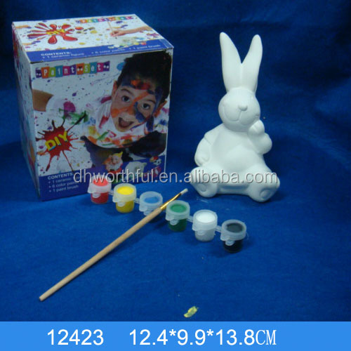Hot Sale DIY Ceramic rabbit coin Bank with 6water color painting 1brush for kids