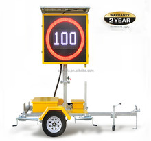 IP 56 12V Solar Variable Led Speed Limit Sign Trailer, Radar Speed Sign With Trailer