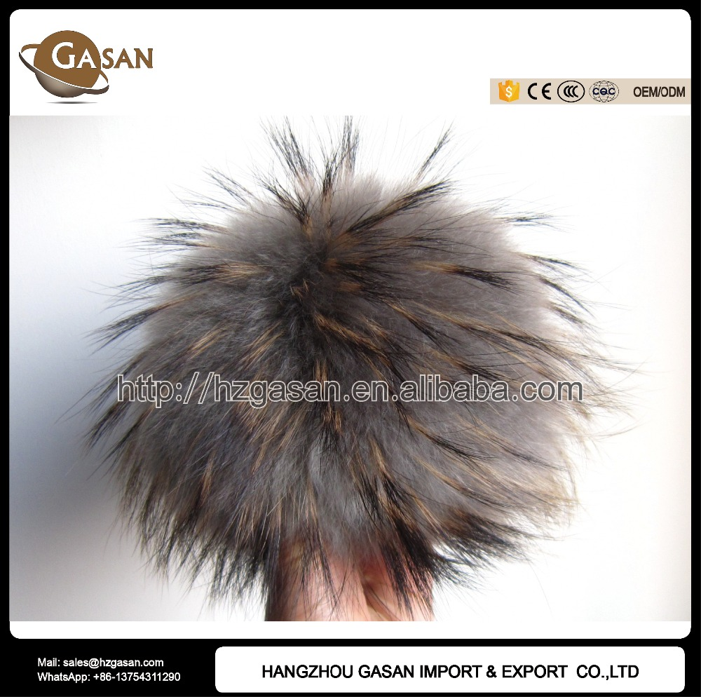 15cm Real Raccoon Fur Pom Pom For Knitted Cap Winter Beanies Accessories