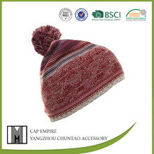 Red 100%Acrylic Winter Fashion Cable Knitted Beanie With Pom Pom