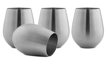 Stainless Steel Stemless Wine Glasses, Set of 4, 16 Oz