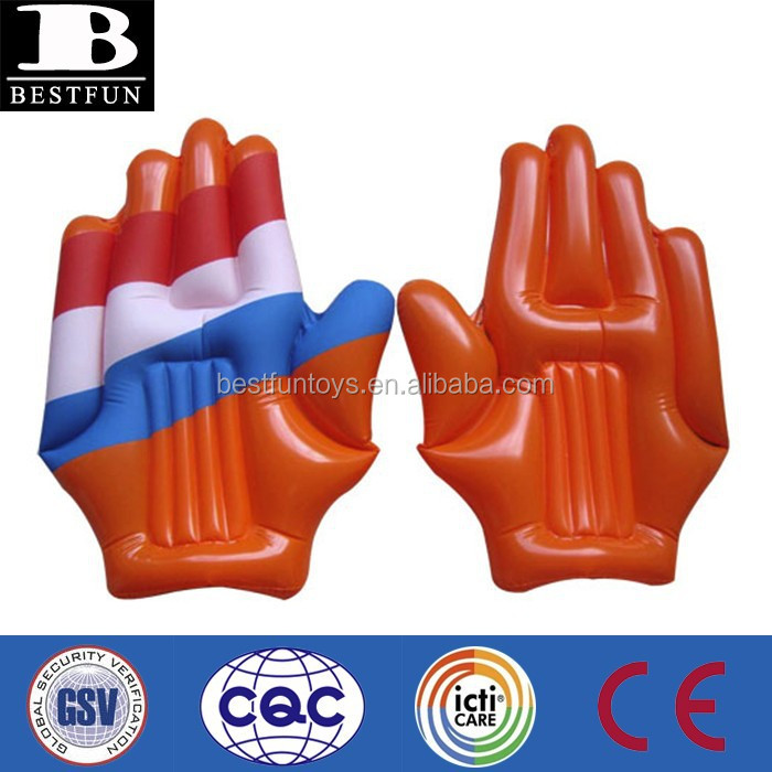 eco-friendly vinyl promotional custom made giant inflatable cheer hands durable pvc blow up hulk fake hand