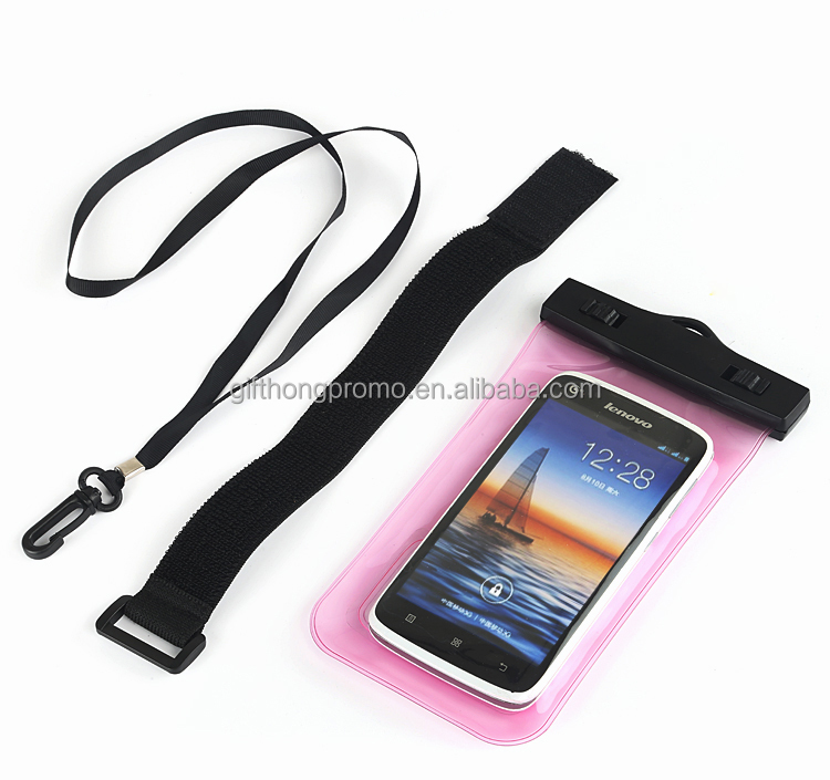 wholesale promotional pvc waterproof pouch bag for phone with belt for diving