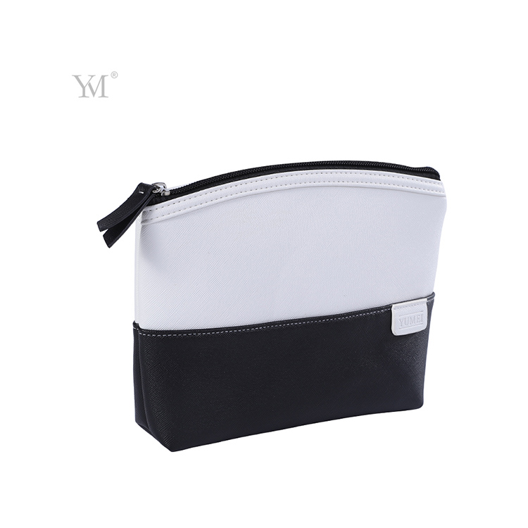 China wholesale travel clutch cosmetic make up bag in white mix black color