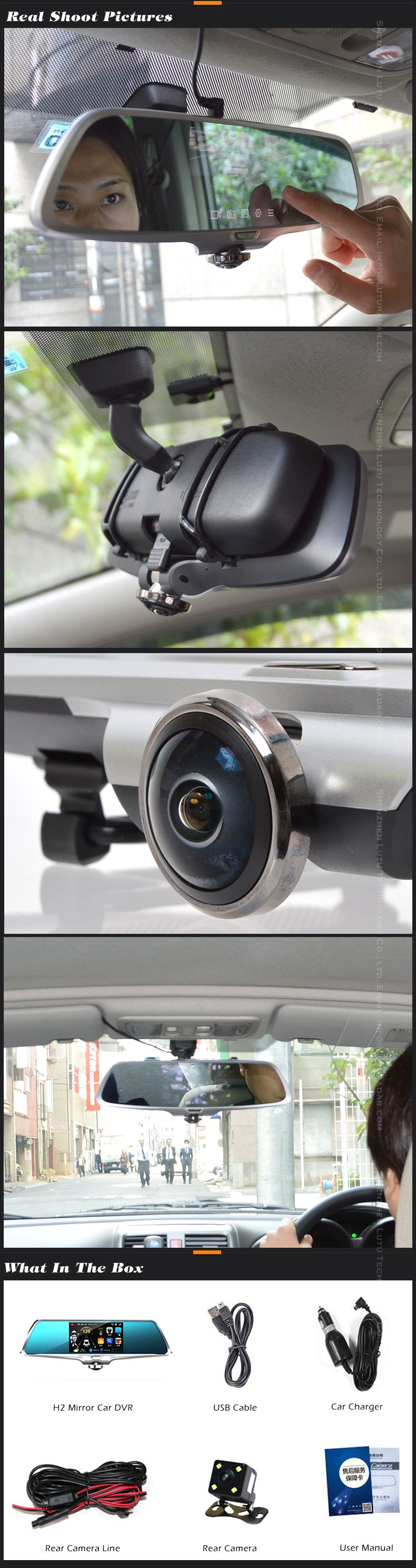 vehicle blackbox dvr DV-H2 user manual full hd 1080p car camera rearview mirror dvr video recorder