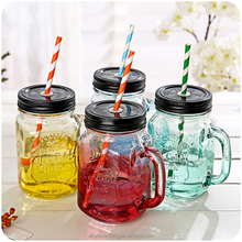 Beverage Drinking Colored Glass Mason Jar 16oz With Straw Lid