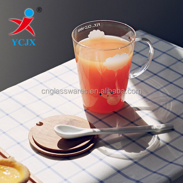 Hand Blown Clear Borosilicate Glass Juice Mugs with Handle