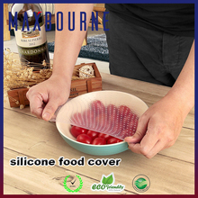 4Pcs Silicone Seal Cover Stretch Cling Film Reusable Keep Food Fresh Plastic Wrap
