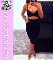 Wholesale price Sexy midriff-baring backless bandage dress