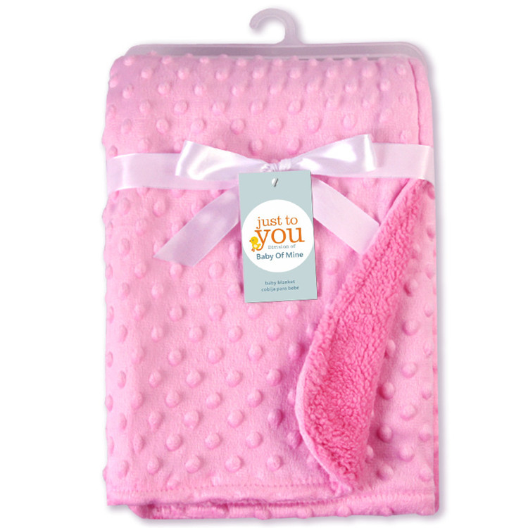 Wholesale Custom Double Side Newborn <strong>Baby</strong> Swaddle Pink Throw Minky Blanket <strong>Baby</strong>