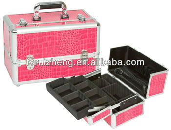 RZ-TW11, Red Aluminum Makeup Case From Exported Wholesaler ,Double Open In Imitation Of A Crocodile Beauty Case With Tray
