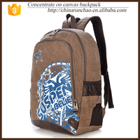 Brown cheap canvas backpaack wholesale bag laptop camping teen vintage school rucksack for girl men