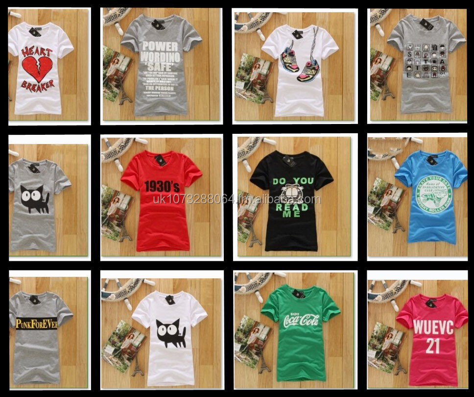 Brand New Cotton Half Sleeve Women T-Shirts Multiple Designs Wholesale UK Stock