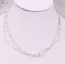 Alloy chain necklace with pearls and multi-layer design