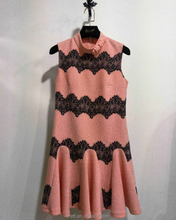 2017AW Sweet Concise Fashion Black Laced Dobby Poplin Ruffle Pleated Sleeveless Round High Neck Pink Dress