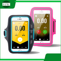 outdoor sport accessories logo printed smart phone luminous reflective armband running stretch mobile phone arm band armbag