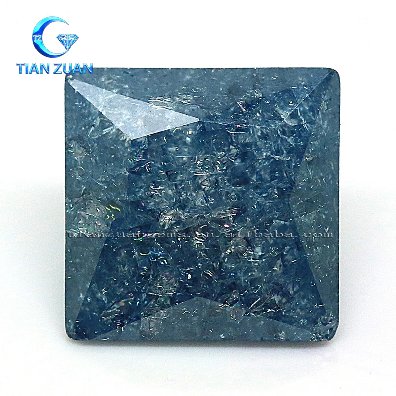 The square shape sapphire blue color ice stone cubic zirconia gemstone