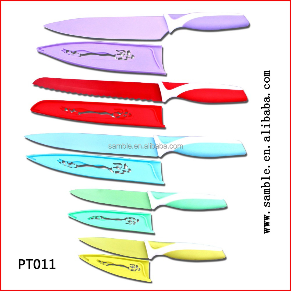 5pcs popular stainless steel kitchen knife set color coating soft handle with special safe sheath