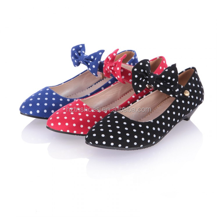 New arrival cotton fabric women pointed toe flat women dress shoes with lovely bowtie mid heel polka dots women's mary jane