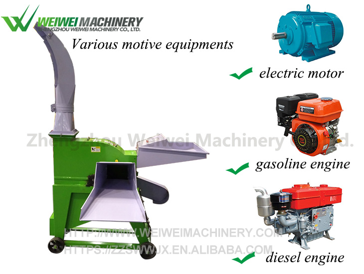 Weiwei cheap price chaff cutter cum pulverizer cattle feed small hay chopper green grass cutting machine