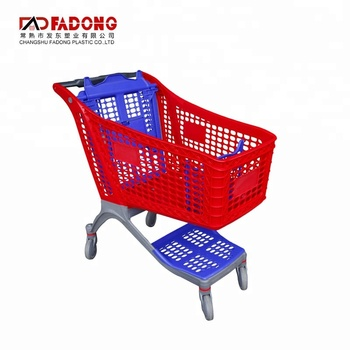 Supermarket Shopping Trolley Hand Cart All Plastic Shopping Cart