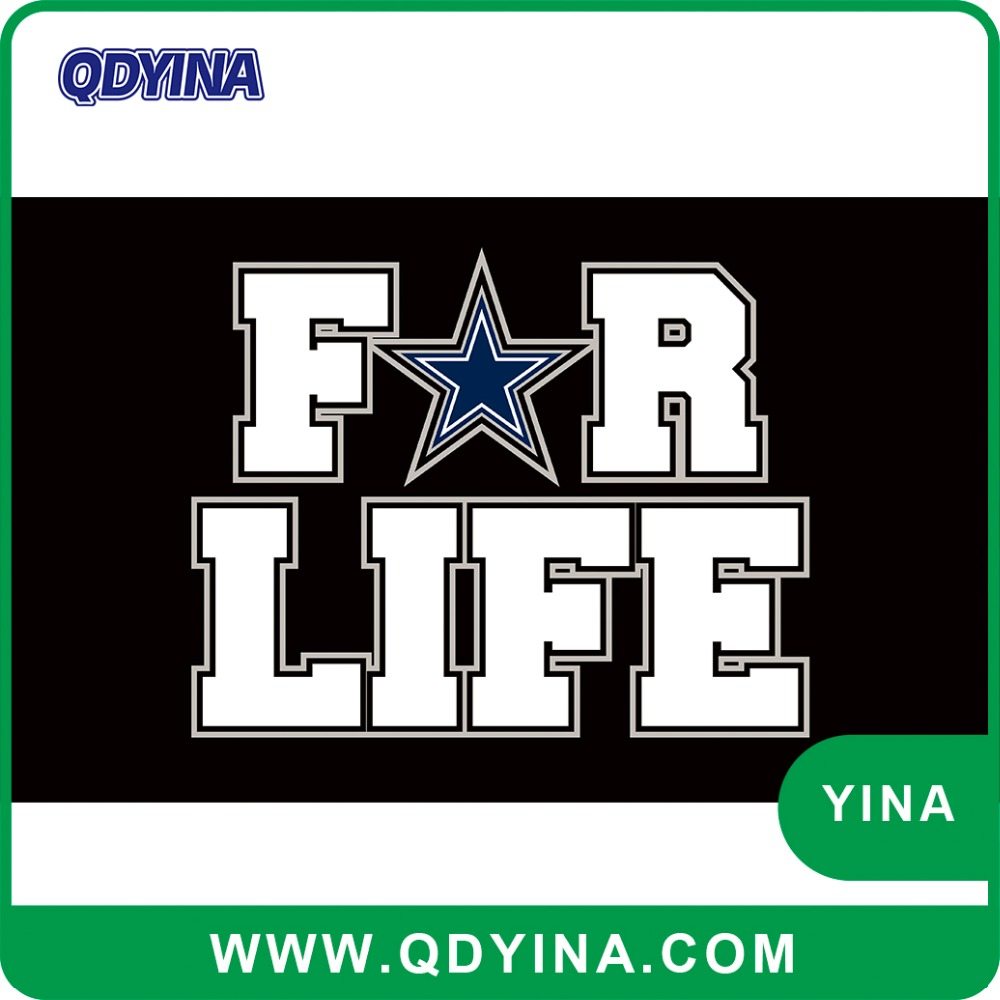 3x5ft digital printing polyester Dallas Cowboys for life flag with white sleeve