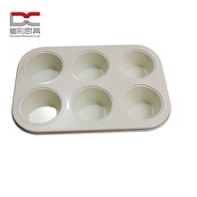 DuoCai 6Cups Round Shape Non-Stick White Ceramic Coating Food Grade Carbon Steel Cupcake Baking Microwave Oven Muffin Pan