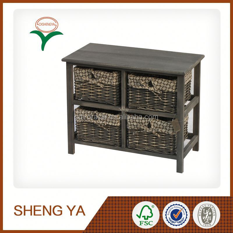Rattan Wood Bathroom Wall Cabinet Living Room Furniture