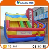 Bottom price double lane inflatable slip slide curve wave inflatable slide