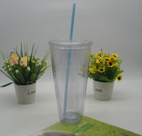 BPA free double wall plastic 30oz insulated tumbler with straw and lid