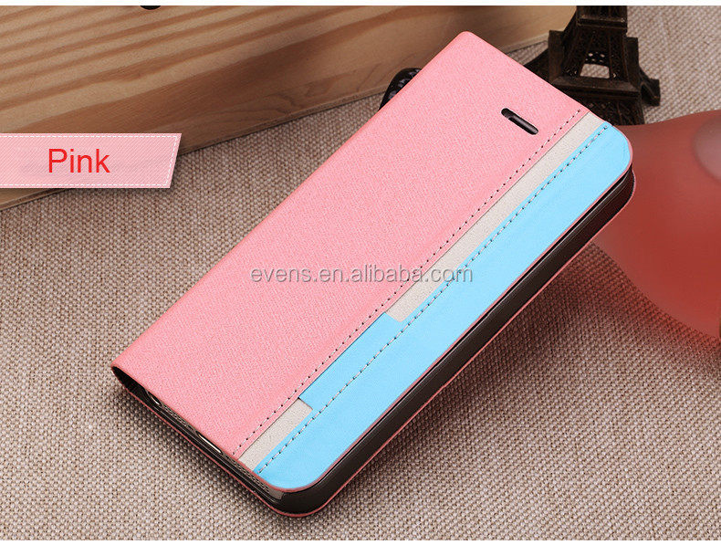 Contrast color Fashion PU Leather Wallet Flip Mobile Phone Case Cover For Blackberry 8320