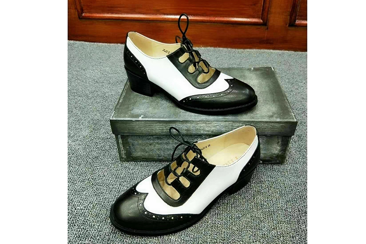 British style fashion color blocking lace-up oxford women brogues shoes