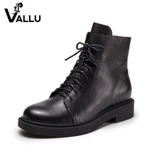 handmade fashion black lace up boots girl thick heel ladies boots genuine leather ankle women's shoes