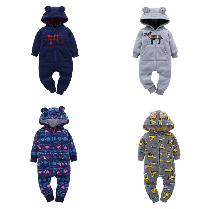2017 Newborn baby winter romper print Boys Girls Clothes Long Sleeve Cotton Hooded rompers