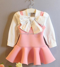 S30113W 2015 NEW MODEL LONG SLEEVE BOWKNOT GIRL'S DREAMING DRESS